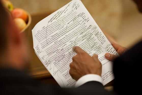 President Obama edits a speech