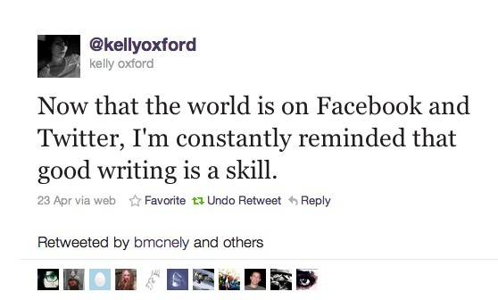 Writing tweet from Kelly Oxford