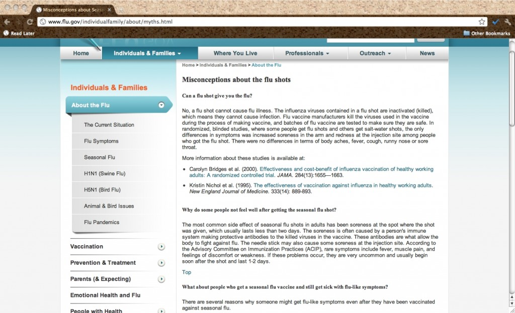 "Figure 1: Screenshot of ""Misconceptions about the Flu Shots"" page from Flu.gov; 8 September 2011; Web; 15 November 2011."