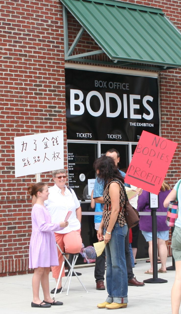 Protestors at Bodies...The Exhibition