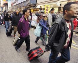 """Hong Kong protesters """"leisure-walking"""""""