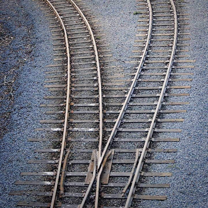 Diverging railroad tracks