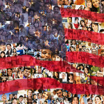 American flag made of people's faces
