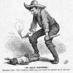 """In Self Defense"" racist editorial cartoon."