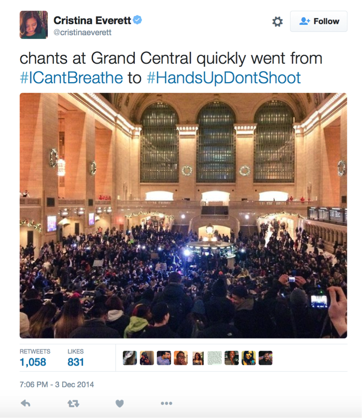 "Screenshot of a tweet that reads, ""chants at Grand Central quickly went from #ICantBreathe to #HandsUpDontSHoot,"" with an image of protesters gathering in Grand Central Station performing the #HandsUpDontShoot gesture. (Everett)"