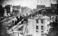 Daguerre, Louis. Boulevard du Temple. 1838, daguerreotype. A French street scene from above.