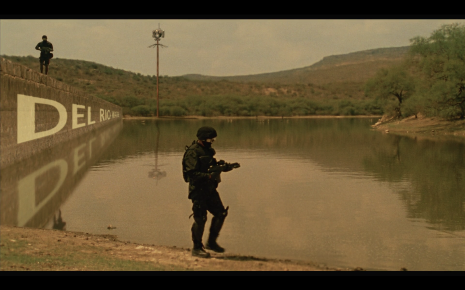 Figure 2. Weaponized police guard Del Rio Water. Screenshot by the author.