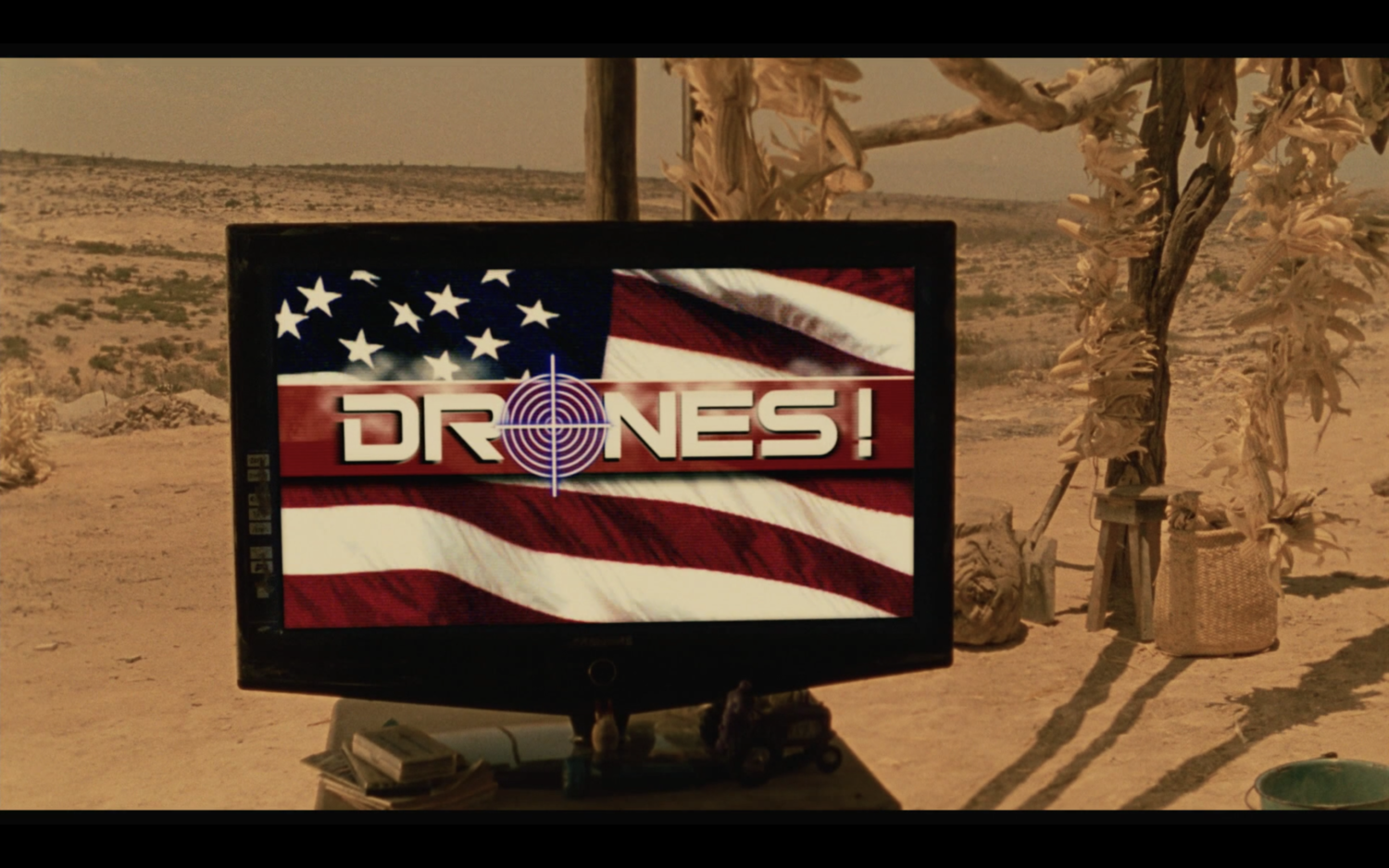 Figure 3. Memo's hermano watches Drones! on this television. Screenshot by the author.