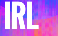 Logo of the IRL podcast; the letters IRL in white against a purple background.