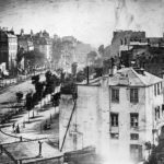 Daguerre, Louis. Boulevard du Temple. 1838, daguerreotype. A French street scene from above.
